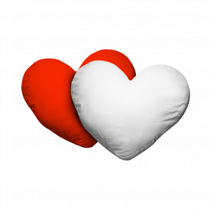 Kissenhuelle Herz Polyester Rot Weiß
