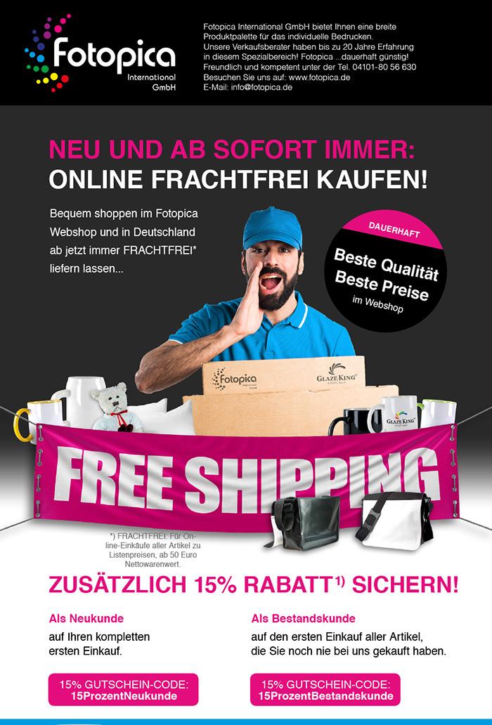 AB SOFORT IMMER FRACHTFREI KAUFEN im Online-Shop