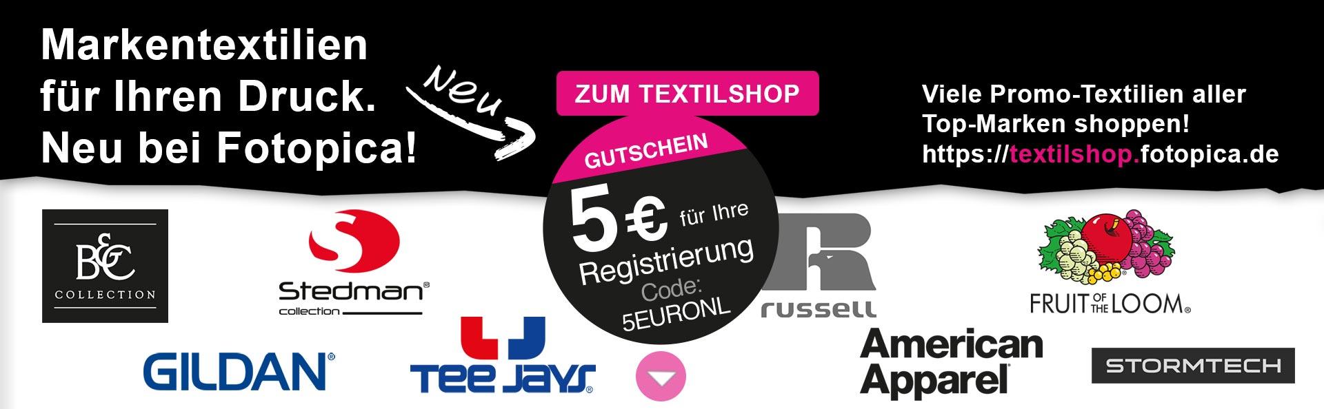 Im Textilshop registrieren und 5 EUR Gutschein erhalten